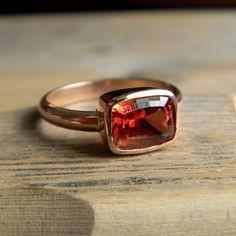 Oregon sunstone & rose gold ring - One garnet girl on Etsy    $1298.00
