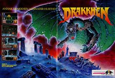 Drakkhen, an Amiga game, cover illustrated by Caza (Philippe Cazaumayou)