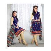 Ws1087-8706/fabulous Designer Blue And Cream Long Salwar Suit