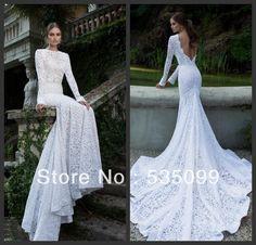berta 2014 elegante slim fit sirena vestido de encaje blanco de manga larga de tren capilla sin respaldo vestidos de novia vestido de novia vestidos de novia