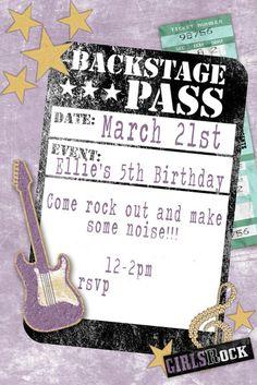 invitation rock star birthday party                                                                                                                                                      More