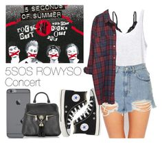 """5SOS ROWYSO Concert"" by the4dipshits ❤ liked on Polyvore featuring Talula, Marie Meili, Enza Costa, Moschino, Topshop, Converse and Monki"