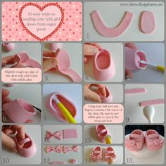 Sugarpaste Tutorials 15 easy steps on how to make cute b.- Sugarpaste Tutorials 15 easy steps on how to make cute baby girl shoes Sugarpaste Tutorials 15 easy steps on how to make cute baby girl shoes Ilona Deakin - Fondant Shoe Tutorial, Baby Shoes Tutorial, Cake Tutorial, Fondant Baby Shoes, Fondant Girl, Decoration Buffet, Decoration Patisserie, Cute Baby Shoes, Cute Baby Girl