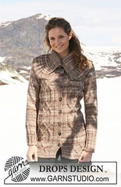 6869b6c80853e1 Ravelry: 0-556 Long jacket with cables and large collar pattern by DROPS  design