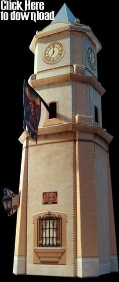 """Torre del Cielo Paper Model Kit Exclusively for the Minions of the Haunted Dimensions, I'm offering this FREE little paper model kit of the """"Torre del Cielo"""", as seen at the entrance to the Pirates of the Caribbean attraction at Walt Disney World free model by Ray Keim thanks"""