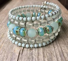 Down By The Sea Nautical Coil Memory Wire Wrap Bracelet