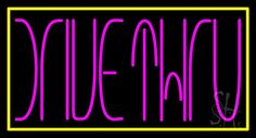 Pink Drive Thru With Yellow Border Neon Sign 20 Tall x 37 Wide x 3 Deep, is 100% Handcrafted with Real Glass Tube Neon Sign. !!! Made in USA !!!  Colors on the sign are Pink And Yellow. Pink Drive Thru With Yellow Border Neon Sign is high impact, eye catching, real glass tube neon sign. This characteristic glow can attract customers like nothing else, virtually burning your identity into the minds of potential and future customers.