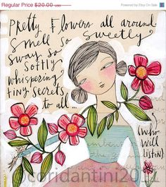 ON SALE flower secrets  a print about gardening  5 x 10 by corid, $16.00
