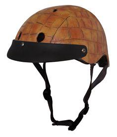 Sawako Furuno Brown Crocodile Bicycle helmet, Leatherette covered, hand finished, 84GBP