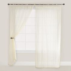 """One of my favorite discoveries at WorldMarket.com: Natural Crinkle Voile Curtain.  40""""W x 84""""L  $14.99"""