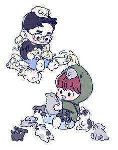 Kpop Drawings, Cute Drawings, Exo Cartoon, Exo Stickers, Exo Anime, Exo Couple, Exo Fan Art, Exo Xiumin, Kaisoo