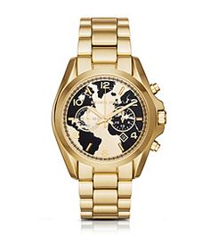 Look great while feeling good about it the Watch Hunger Stop Oversized Bradshaw 100 Gold-Tone Watch by Michael Kors