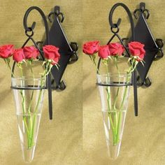2 Black Metal Scrollwork Hanging Glass Pendant Wall Sconce Vases