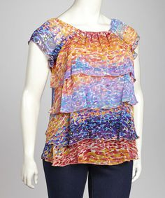 Take a look at this Orange & Blue Tiered Top - Plus by Pat Rego on #zulily today!