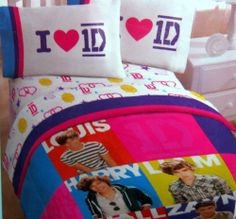 """One Direction Twin Comforter and Sheet Set by One Direction. $82.99. Sheet set is white with pink, yellow, purple pictorials of 1D, hearts, smiling suns, shooting stars.  Flat Sheet 66"""" x 96.""""  Fitted Sheet 39"""" x 75."""" 1 Pillow Case 20"""" x 30.""""  Material 60% cotton, 40% polyester.. Comforter has bright blocks of color (pink, blue, yellow, orange, purple) with pictures of Harry, Zayne, Louis, Liam, Niall.  Microfiber 100% polyester. Measures 64"""" x 86."""". Twin Size One Directi..."""