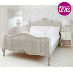 French Grey Painted Rattan Bed Lifestyle by The French Bedroom Company for old world charm with a modern twist. Grey Bedding, Luxury Bedding, Bedding Sets, Rattan Bed Frame, Painted Beds, Super King Size Bed, Upholstered Beds, French Furniture, Bed Styling