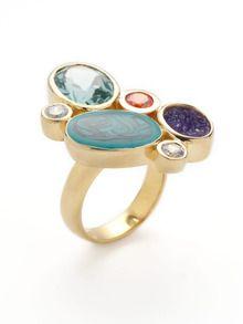 Isharya - Multi Color CZ & Druzy Ring