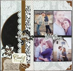 You & Me Divine Scrapbook Layout Page Idea from Creative Memories #scrapbooking memori scrapbook, scrapbook layouts, creativ memori, creative memories page, engag layout, scrapbook idea, memorial scrapbook, divin scrapbook, engagement scrapbook pages