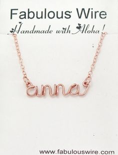 Wire Name Necklace Custom Made Wire Lowercase by FabulousWire