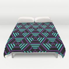 Purple, Black and Turqoise Geometric Duvet Cover by DAWdesigns - $99.00