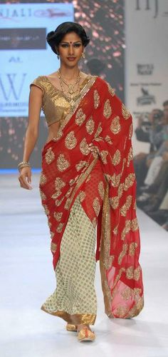 #gold #saree #red #white