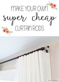 diy-electrical-conduit-curtain-rods using finials draw pulls from hobby lobby or world market or anywhere. Homemade Curtain Rods, Cheap Curtain Rods, Long Curtain Rods, Cheap Curtains, Diy Curtains, Corner Curtain Rod, Curtain Hangers, Valance, Diy Furniture Cheap