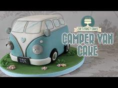 Campervan cake : Volkswagen VW camper van birthday cake (birthday cake making) Camper Van Cake, Camper Cakes, Vw Camper, Bus Vw, Auto Volkswagen, Volkswagen Transporter, Volkswagen California, Van Hippie, Birthday Cake Video