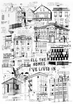 All The Homes I've Lived In - James Gulliver Hancock illustration. what a great idea! Moleskine, Figure Drawing Reference, Pose Reference, City Illustration, Doodle Designs, Urban Sketching, Art Sketchbook, Line Drawing, Art Lessons