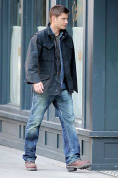 Jensen Ackles on the set of 'Supernatural' in Vancouver, Canada. .