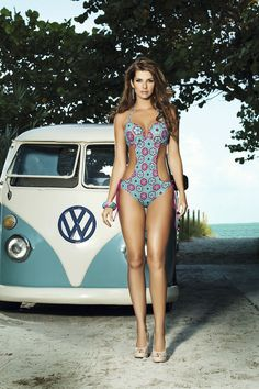 girls and cars - vw bus and bikini clad girl 2