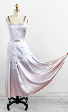 vintage late 1920s or early 1930s silver + lilac slipper satin evening gown.