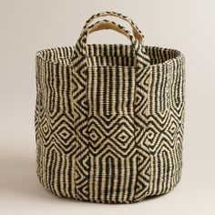 A couple of these to store wood next to our fireplace? Black and White Jute Storage Basket | @worldmarket #SpruceUpYourSpace #worldmarket