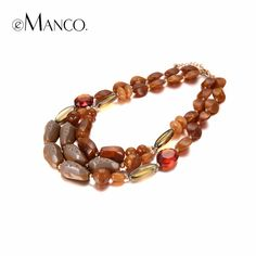 eManco 3 Colors Ethnic Style Multi Layers Choker Necklaces Women Brown Resin & Crystal Necklace Jewelry for Clothing Accessories
