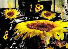 ee8aaa4d340 Juego de Funda Nórdica de Algodón Negro Estampado Atractivo de Girasol  Impresión 3D Jogo De Cama