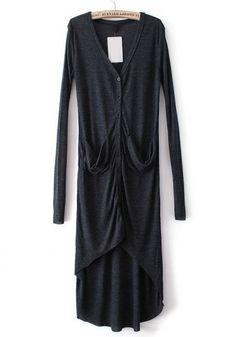 Black Long Sleeve Pockets Sheer Dip Hem Cardigan pictures