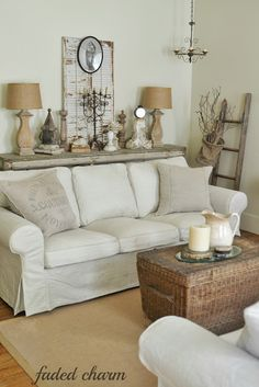 Cottage living room by pauline; white, cream, and rustic pine ...