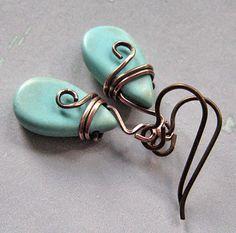 Turquoise Howlite Earrings handmade.  Copper. by SuzyRocksDesigns, $16.00