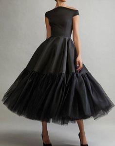 Elegant Off Shoulder Short Sleeves Tea-Length Solid Pleated Evening Dress - Prom Dresses Design Black Party Dresses, Trendy Dresses, Elegant Dresses, Sexy Dresses, Beautiful Dresses, Fashion Dresses, Formal Dresses, Little Black Dresses, Ladies Dresses