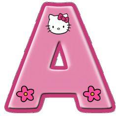 Alfabeto de Hello Kitty con letras grandes.  Hello Kitty font - includes all letters