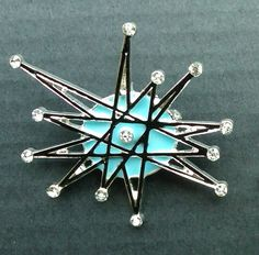 handpainted- ATOMIC STARBURST retro vintage look  franciscan BROOCH rhinestone pin jewelry pinup  star burst mid century sputnik. $15.00, via Etsy.