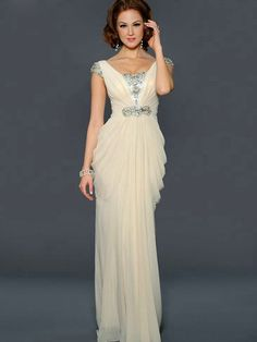 A-Line/Princess Bateau Short Sleeves Beading Floor-Length Chiffon Dress