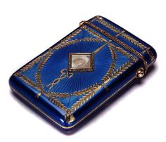 Vintage Royal Blue Guilloche Enamel Cigarette Case