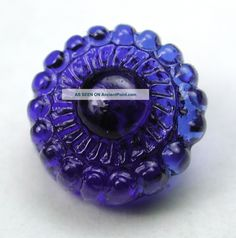 Antique Charmstring Glass Button Cobalt Blue Candy Mold Swirl Back.Circa: 1840-1860