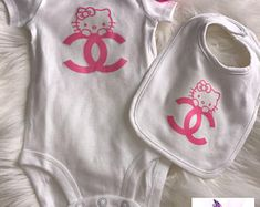 3 Piece Pink Chanel Hello Kitty Baby Set | Onesie, Bib, & Pacifier
