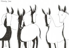 Line drawing DONKEYS // original animal sketch by elisavetasivas