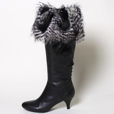 Black Feather Faux Fur Boot Socks