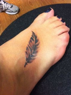 Colorful Feather Tattoos | Feather Tattoo on Foot