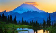 Mount Rainier at Sunset by Inge Johnsson/Alamy