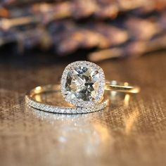 Cushion White Topaz Halo Diamond Engagement Ring and 14k White Gold Half Diamond Eternity Wedding Ring Set (Custom Ring Set Available) by LaMoreDesign on Etsy