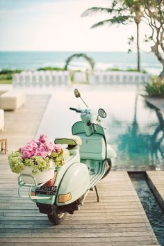 Romantic Getaway #wedding #vespa #flowers #vignette #photo #blue #white #vacation #paradise